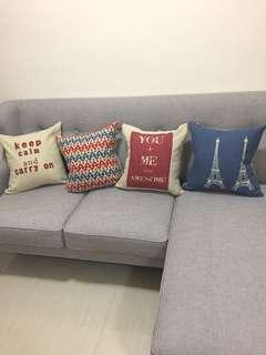 cushion cover set*4 厚麻布質地咕𠱸套四個