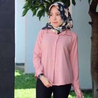 Kemeja blouse pink salem