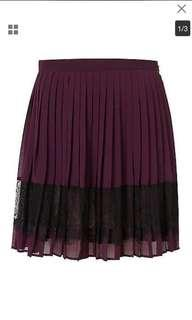 Topshop purple black lace panel skirt