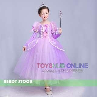 NEW Elegant Princess Repunzel Sofia the First Pretty Long Dress Costume