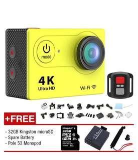 Discount! Eken H9R 4K Action Camera + Remote + 32GB + Spare Battery + Monopod