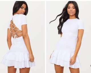 Lace Up Back Frill Bodycon Dress