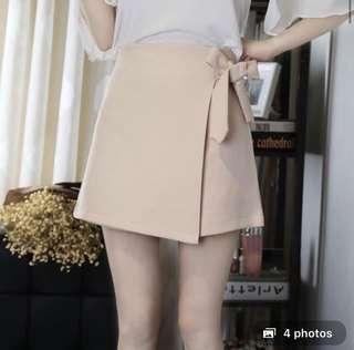 Nude pink ribbon skirt
