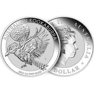 (多買有折) 超值現貨 最新 2018 澳洲銀幣 1 oz 笑翠鳥 原廠直送 全新包裝 收藏首選 silver kookaburra BU
