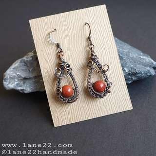 Jasper copper wire wrapped teardrop shape handmade earrings / long shape earrings. Lane22