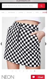 neon hart checkered skirt