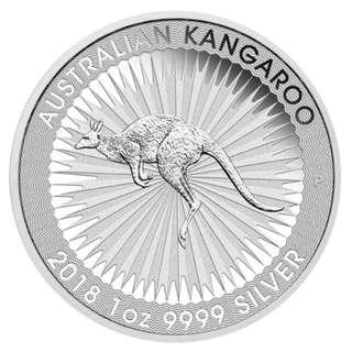 免郵費 超值 2018 澳洲銀幣 1oz 袋鼠系列 全新連膠盒 投資收藏一流 保證正貨 普鑄 silver kangaroo