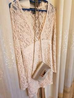 Forever 21 long sleeve lace white dress