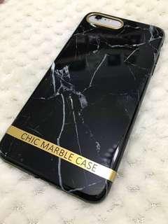 iPhone 7 8 plus 黑色雲石電話殼手機套 Black MARBLE mobile phone case