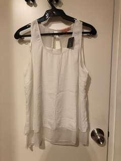 Cache Cache White Sleeveless Top (Size 2 / M)