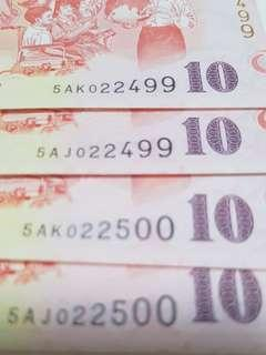 """📕Christmas Gifts using SAME IDENTICAL NUMBERS NOTES. 🆎 Collective items for higher future values. 🆎 We can see  """"SG50""""  printed in every piece of special $10 notes 🆎 Each piece notes is $5 premium or $15"""