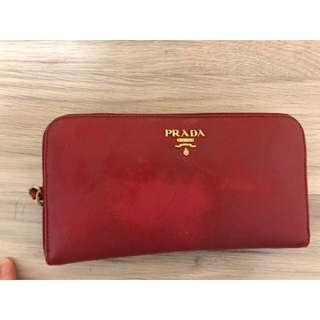 Prada red long wallet