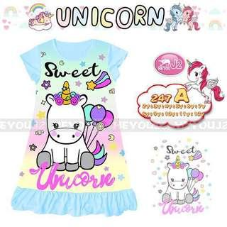 🚚 In stock unicorn pyjamas dress ( 4 designs)