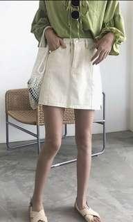(Beige) A Line Cowboy Skirt