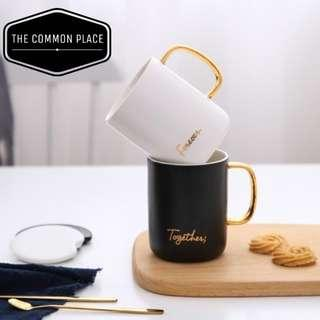 INSTOCK Minimalist Gold Couple Mugs 'Together Forever' Wedding Gift Box w/ Spoon & Lid