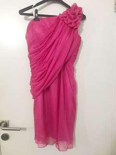 Benten Fuchsia One shoulder Dress