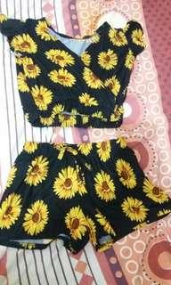 Sunflower crop top and shorts