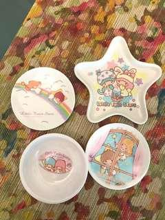 Little Twin Stars mini plates and saucers - set of 4