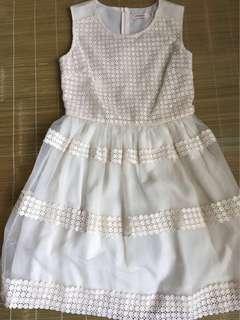 米白色連身裙 小洋裝 雪紡