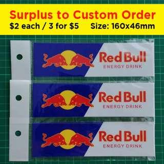 Red Bull Stickers. Surplus to Custom Order. 160 x 46mm. $2 each or 3 for $5 with Free Normal Mail.