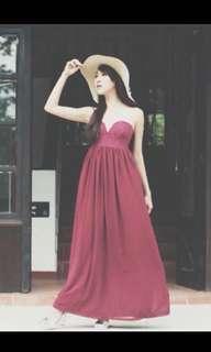 Maroon Lace Bustier Maxi Dress