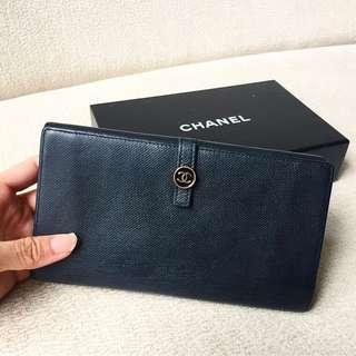 AUTHENTIC CHANEL Calfskin Long Wallet Purse