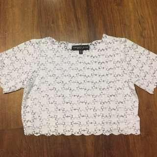 Topshop white floral crop top