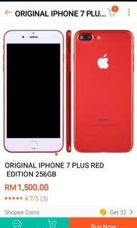 ORIGINAL IPHONE 7 PLUS RED EDITION 256GB