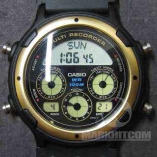 Casio BGR-10-9D MULTI RECORDER BUSINESS GRAPH BLACK COLOR WR 100M Watch