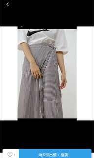 2143 一片式條紋綁帶裙