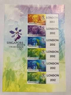 Singapore 2005 International olympic Committee my stamps london 2012 mnh