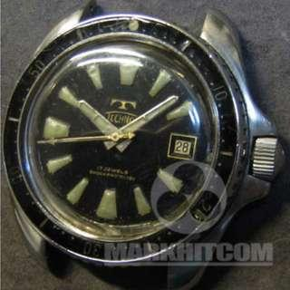 Technos Skydiver 1st model SHOCKPROTECTED PLOPROF Professional Divers Watch 60's