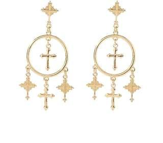 Bohemian Gypsy cross dangling earrings