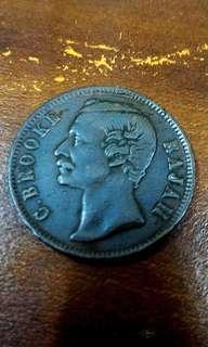 Old Coin 1 Cent, Sir James Brooke, Rajah of Sarawak 1891