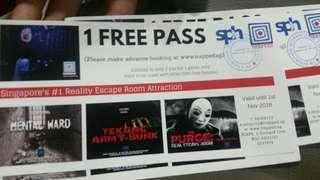 4 Passes to Escape room game at trapped.sg