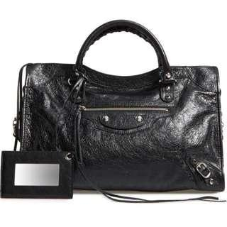 Balenciaga classic city handbag black silver stud with mirror