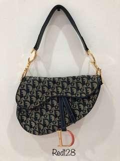 Christian dior saddle blue bag