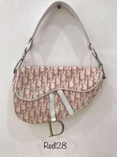 Christian dior saddle pink bag
