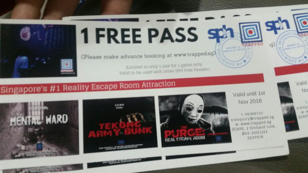 4 Passes to Escape room game at trapped sg