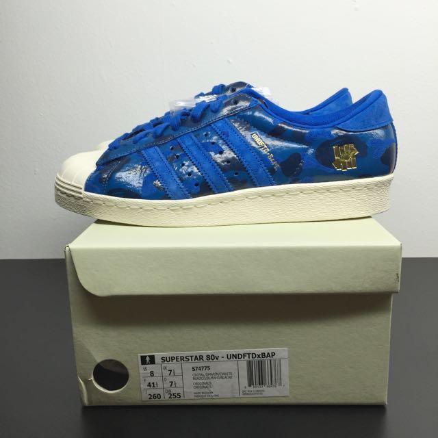 d2588fee5b60 Adidas Consortium X Undefeated X Bape Superstar 80v Blue Camo