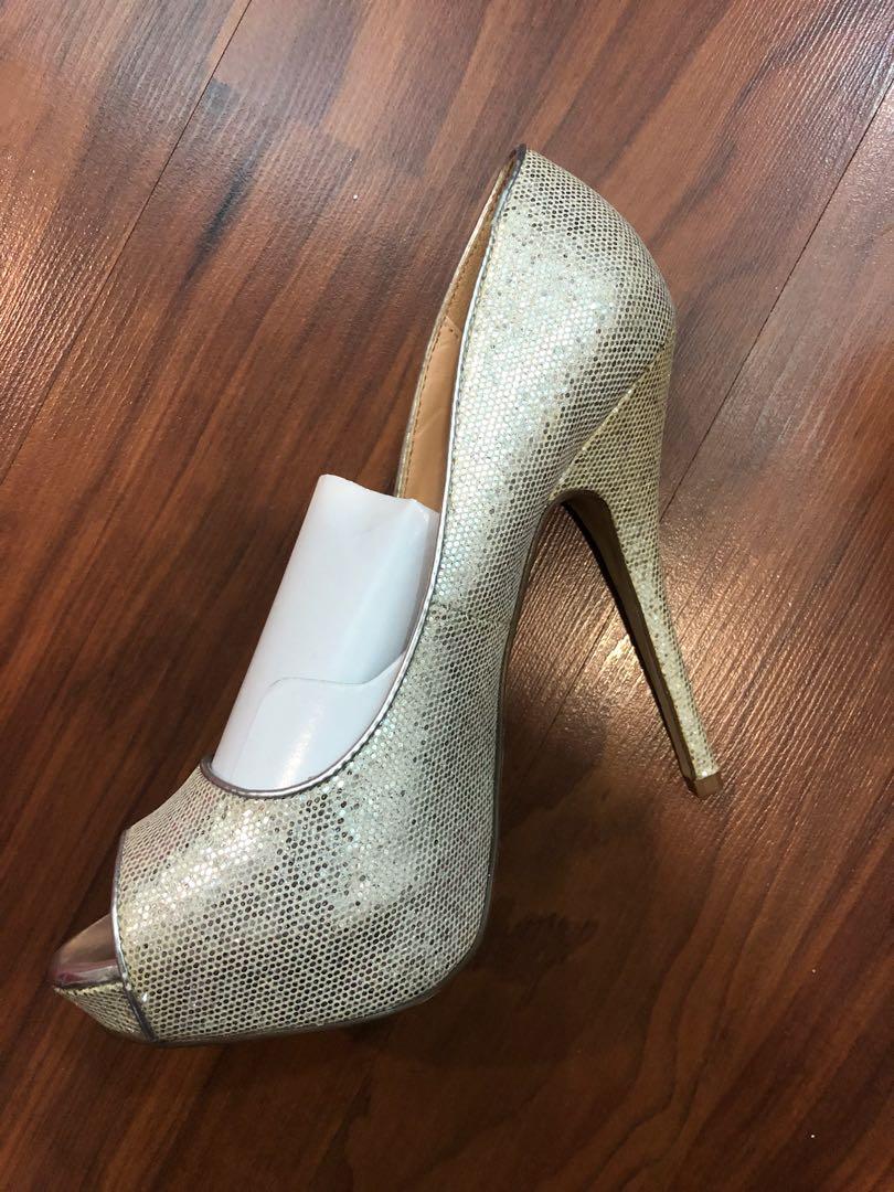 b751fcfdfe ALDO Silver Sparkly Studded Peep Toe Heels, Women's Fashion, Shoes ...