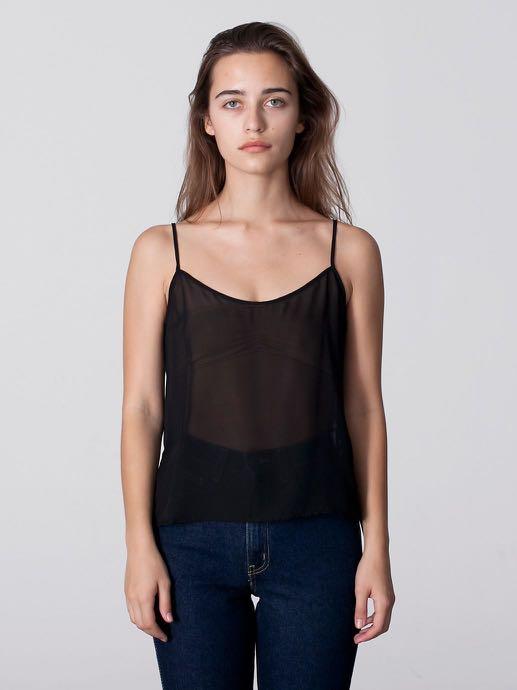de843f30d American Apparel Chiffon Camisole (black), Women's Fashion, Clothes ...