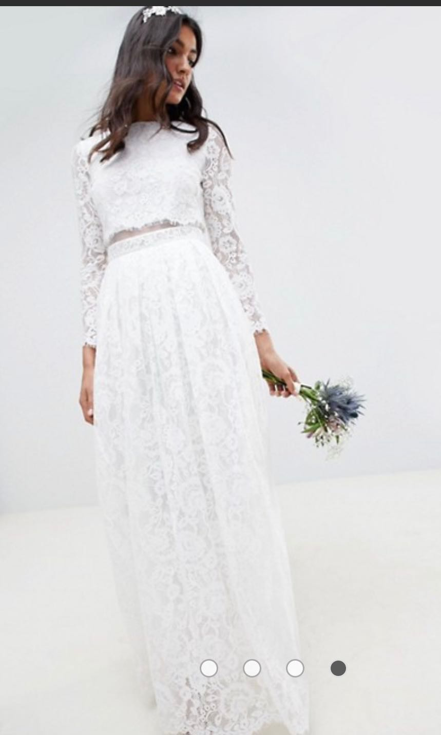 6c0299eef1bf ASOS Lace Long Sleeve PWS/Wedding Dress, Women's Fashion, Clothes ...