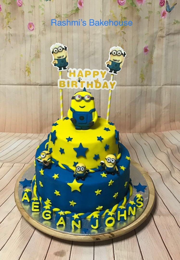 Fantastic Birthday Cake Minion Theme Cake Food Drinks Baked Goods On Funny Birthday Cards Online Inifodamsfinfo