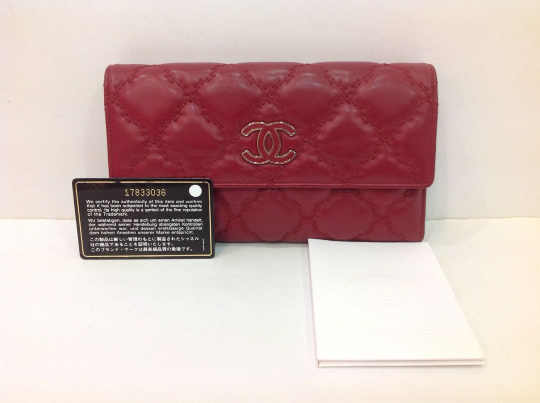 2d8f11ebb2b80d CHANEL RED QUILTED LEATHER HAMPTON TRIFOLD WALLET, Luxury, Bags ...