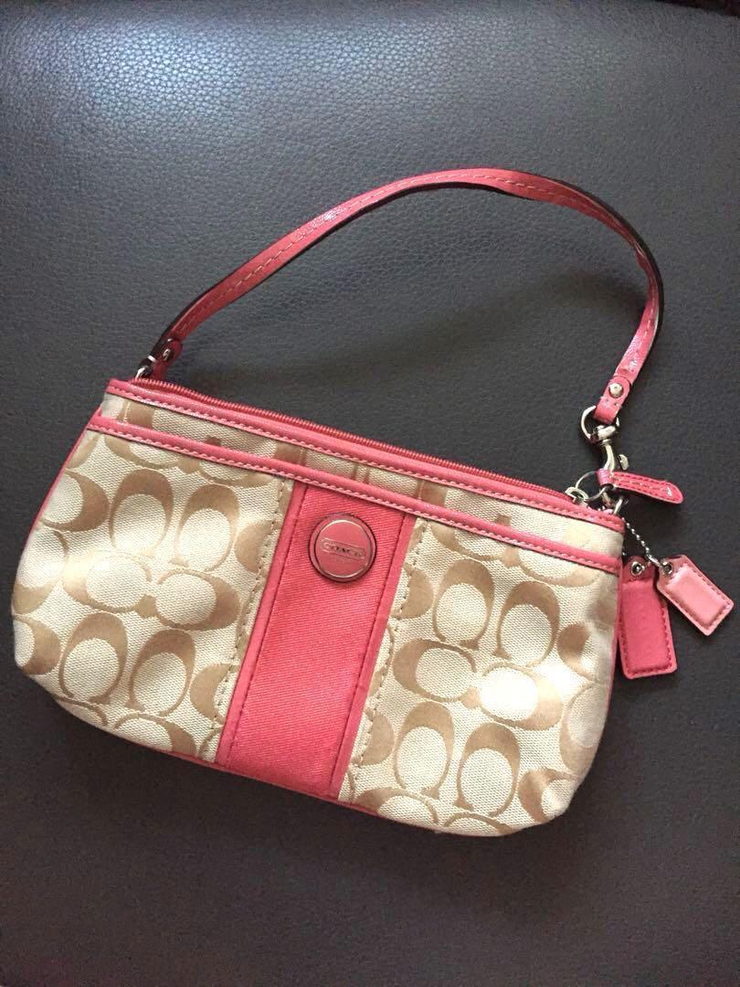 [夏天之選]Coach 粉紅色小手袋 包包 銀包 pink pouch gift best buy