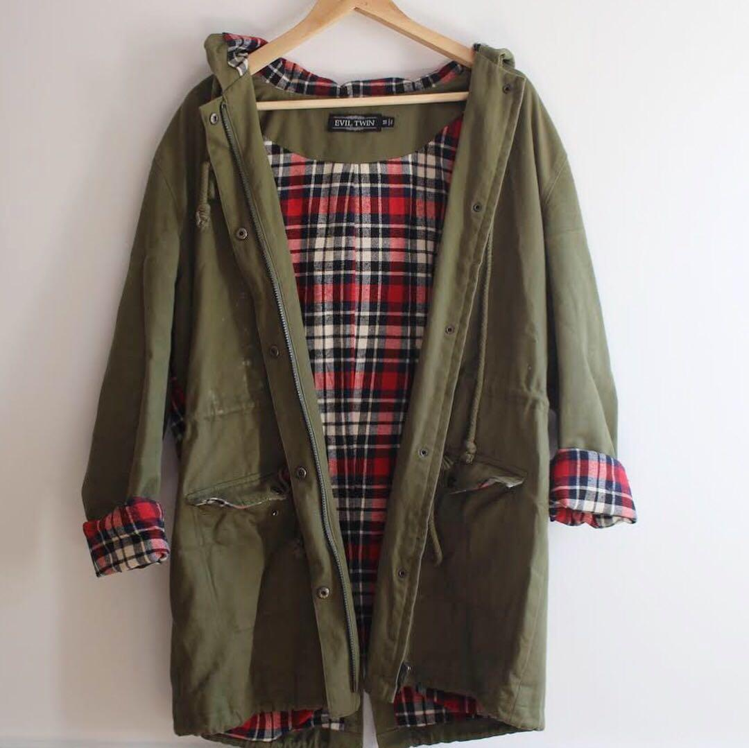 EVIL TWIN (Twiin The Label) Khaki Tartan Festival Jacket, M