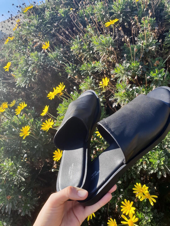 Genuine leather black slides