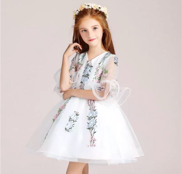 Kids White Flora Dress