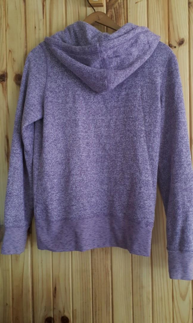 Marl purple zip up hoodie sweater